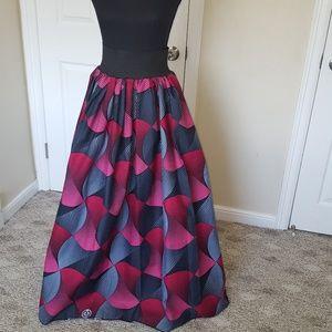 Handmade African Print Maxi Hi Waist Skirt